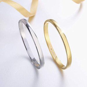 Solid White Gold Plated Bangle Cuff